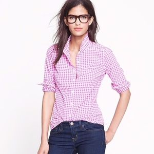 J. Crew Perfect Shirt in Mini Pink Gingham Top 00P